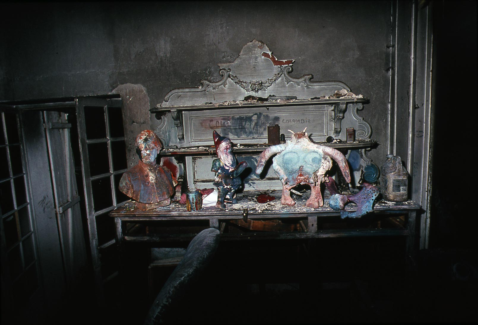 Dado's studio after the fire in 1988