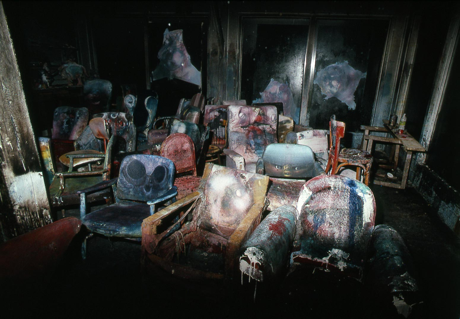 The armchairs in Dado's studio after the fire in 1988