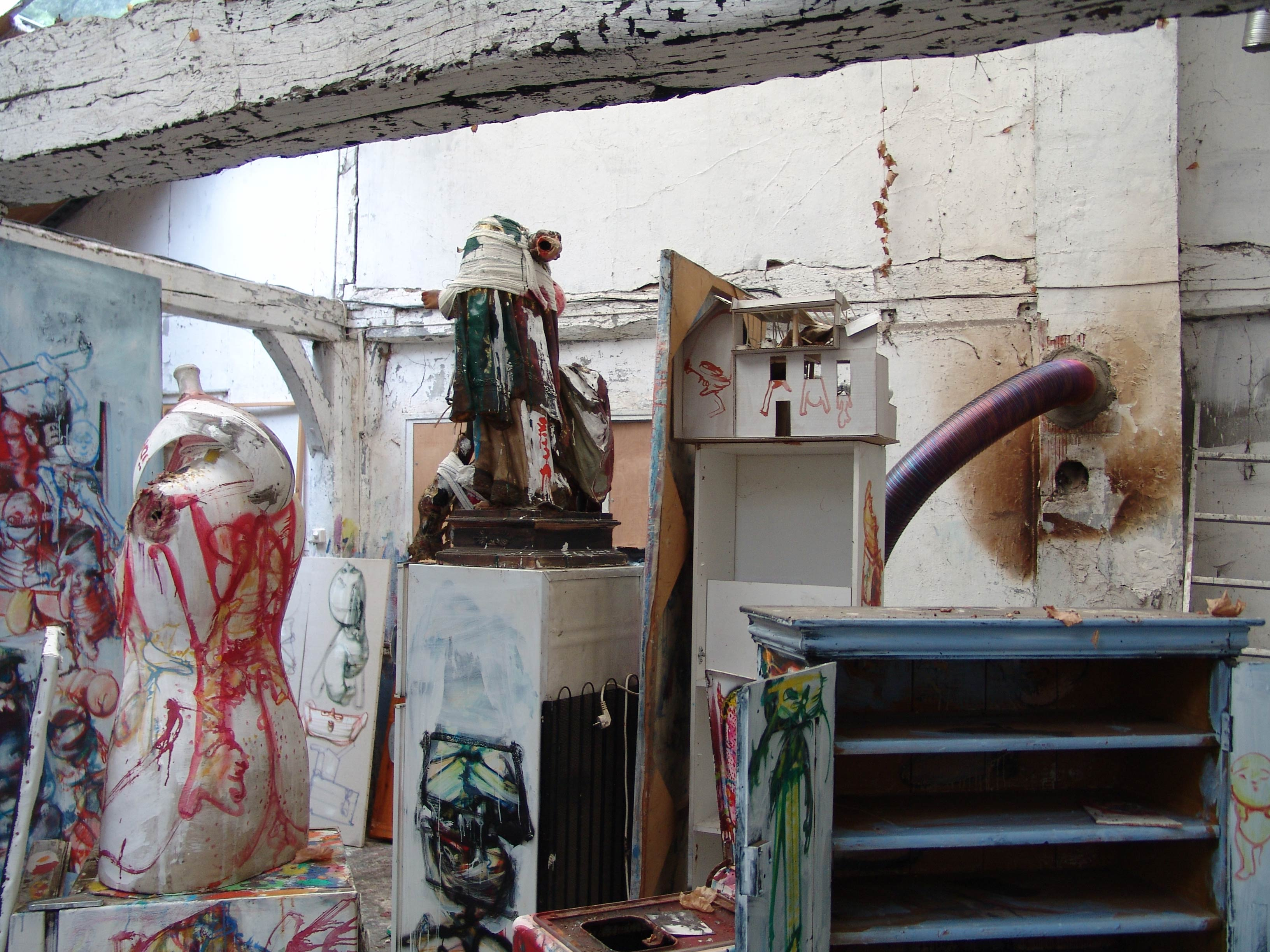 Sculptures at Dado's studio in 2010
