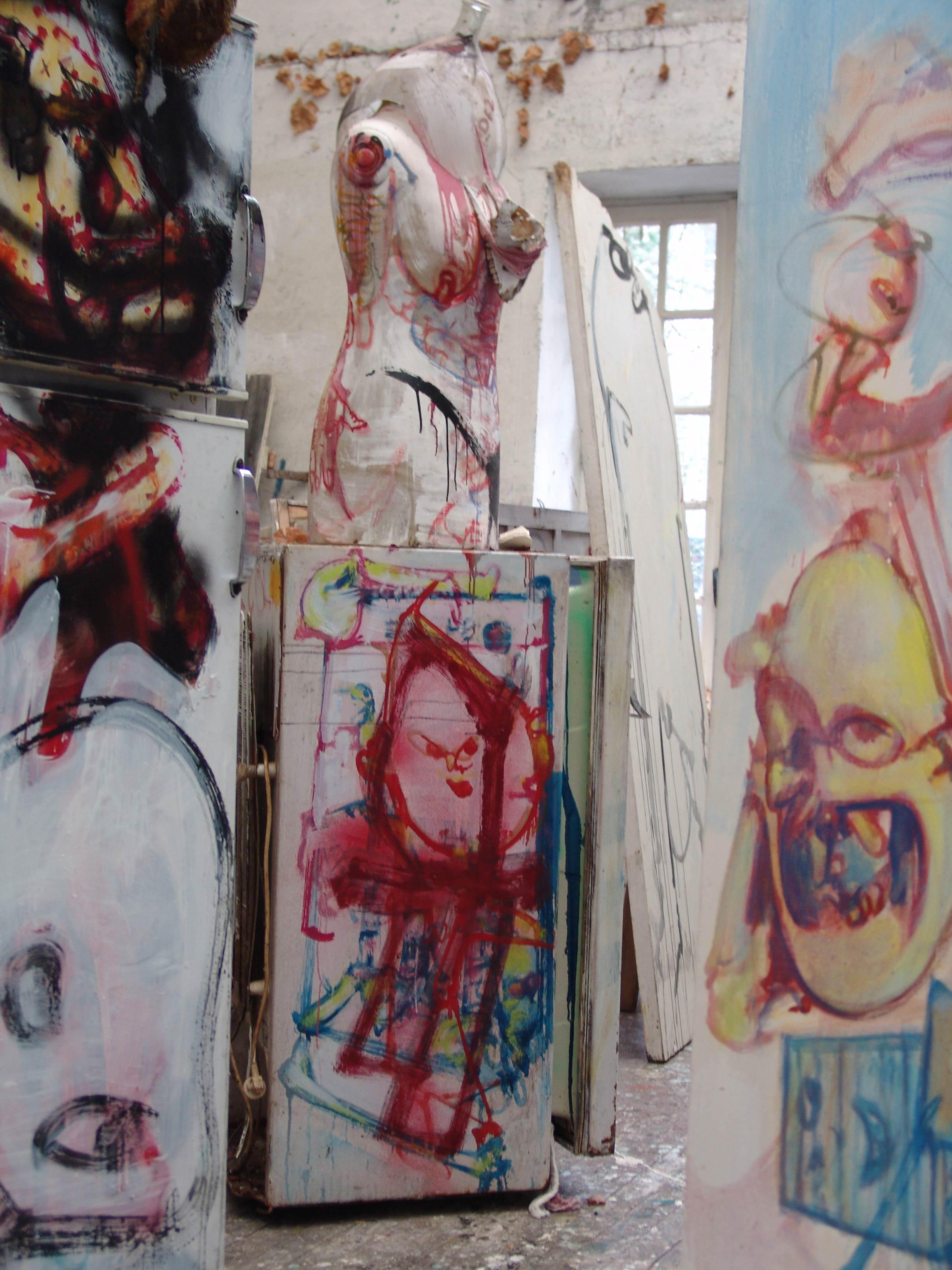 Sculptures at Dado's studio in 2010