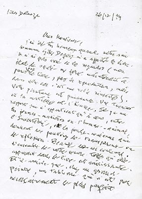 Photocopie de la lettre de Deleuze, recto