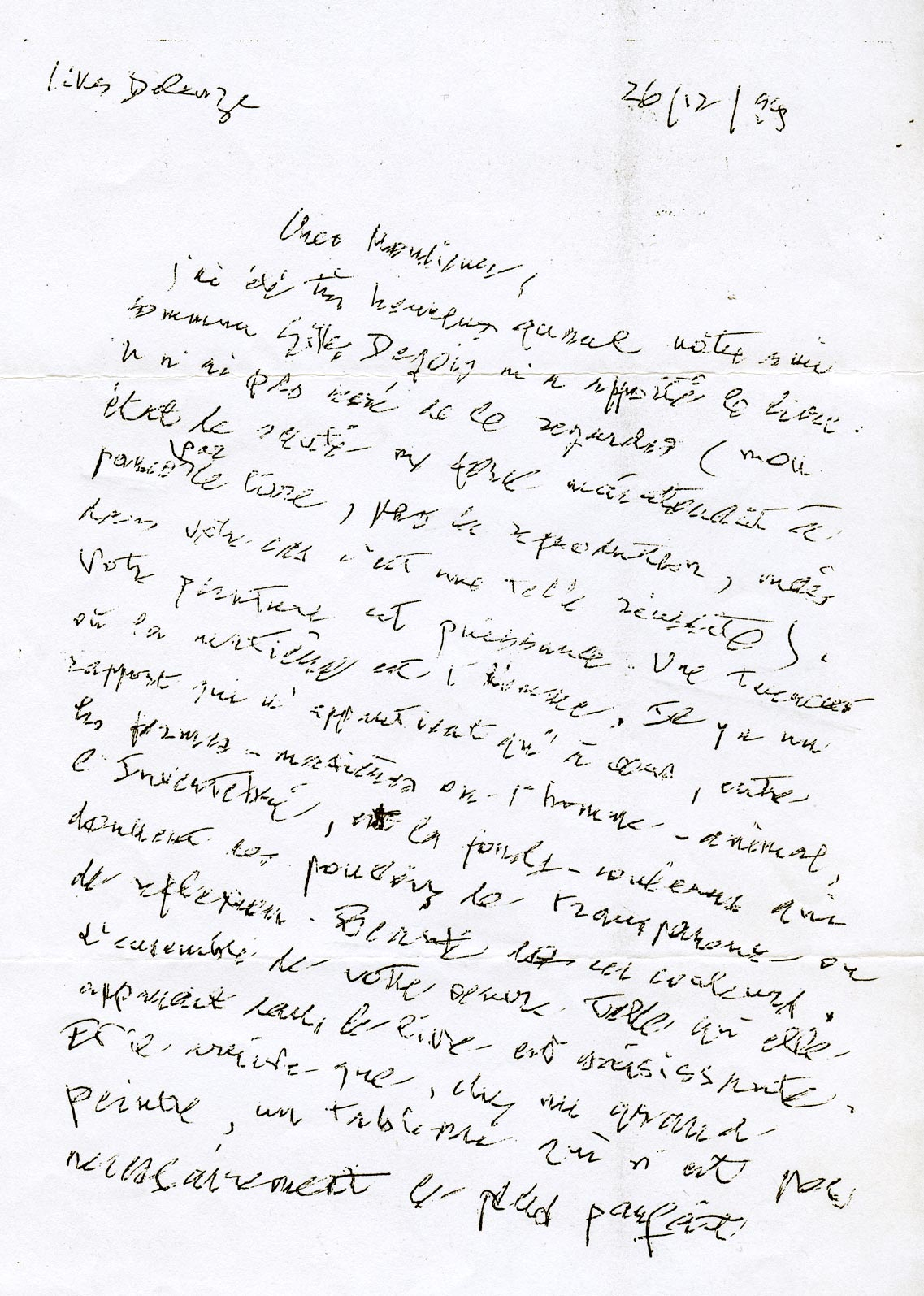 letter addressed by Gilles Deleuze to Dado