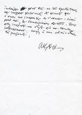 Photocopie de la lettre de Deleuze, verso