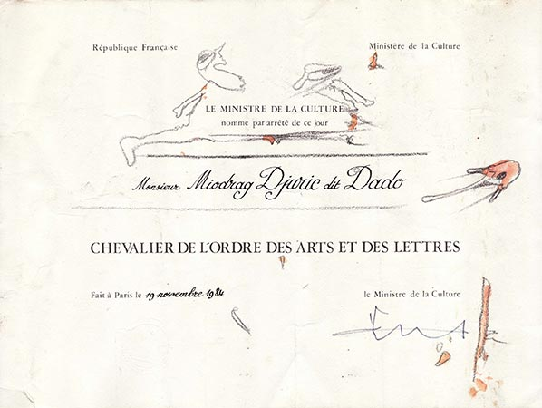Knight of the Order of Arts and Letters certificate