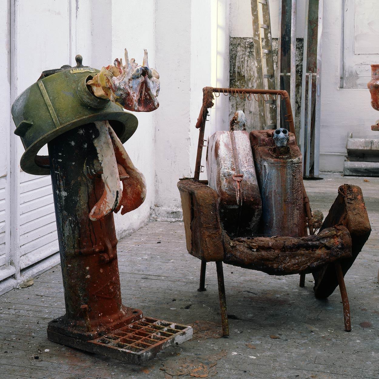 Sculptures at Dado's studio in 1990