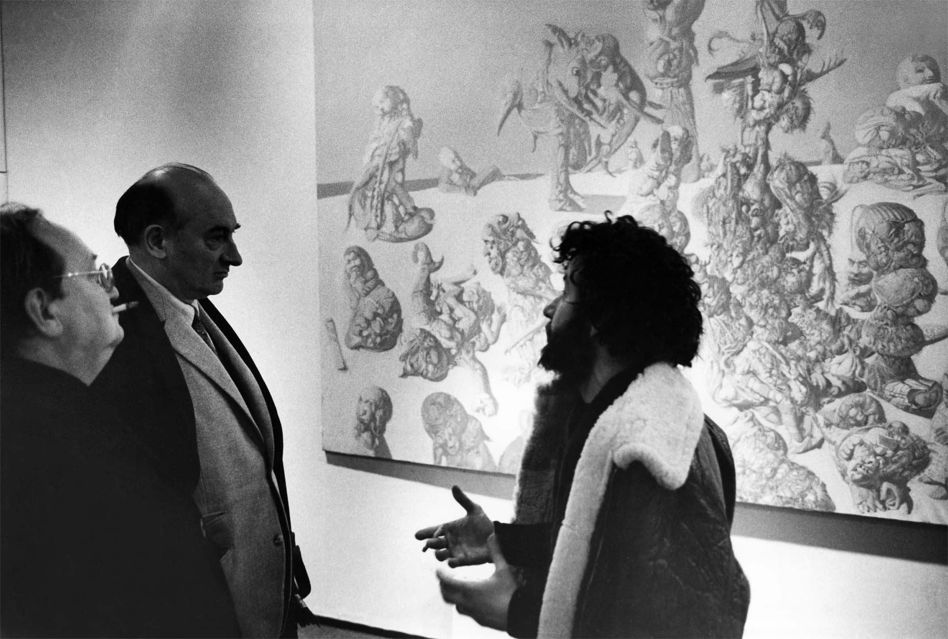 François Mathey, Gaëtan Picon and Dado at the vernissage of the exhibition at the C.N.A.C. of 1970