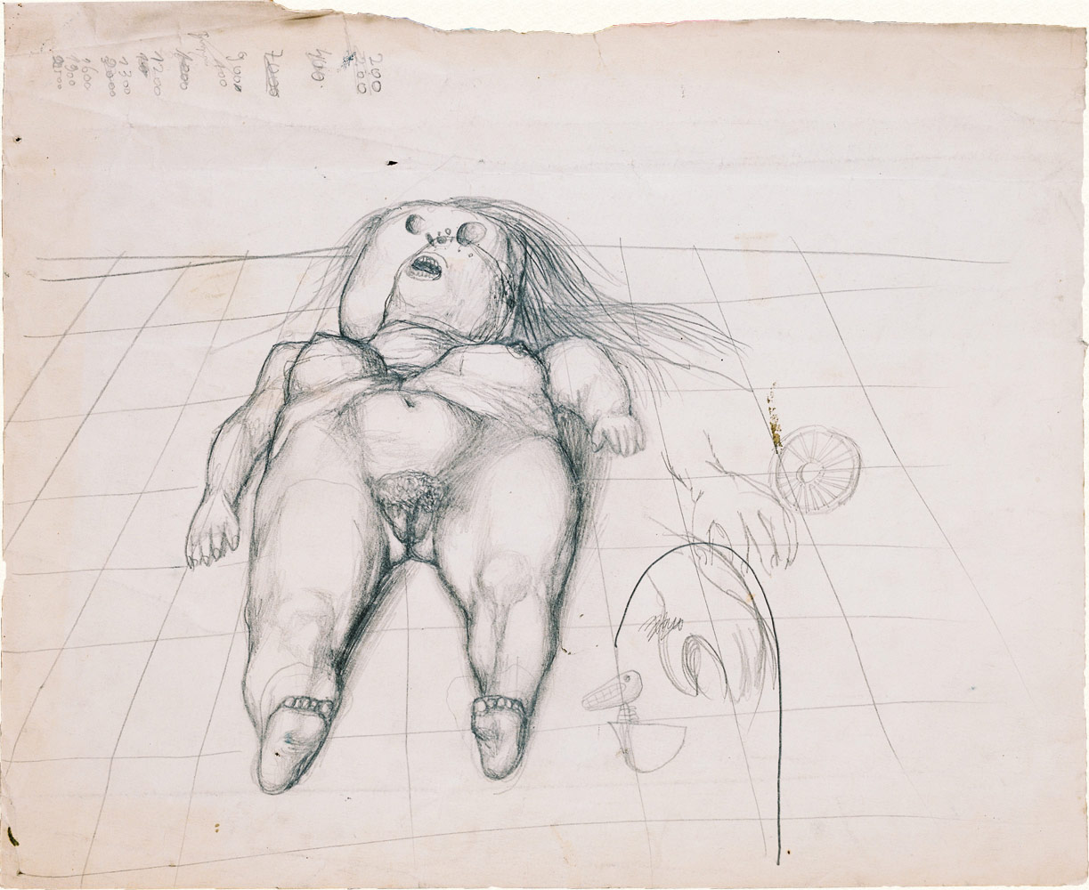Dado's drawing: Study for The Crucifixion, 1955