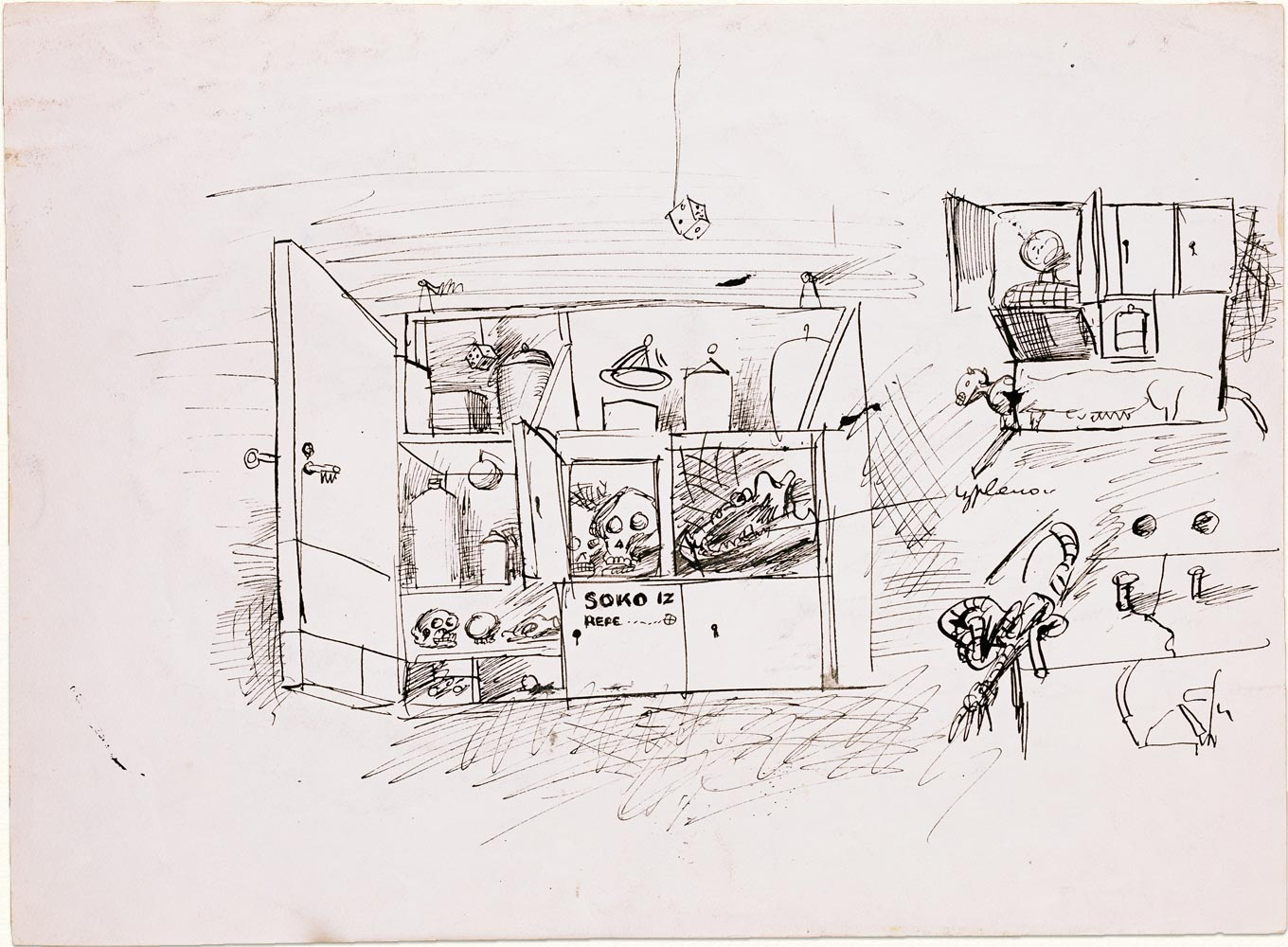 Dado's drawing: Study for The Cyclist, 1955