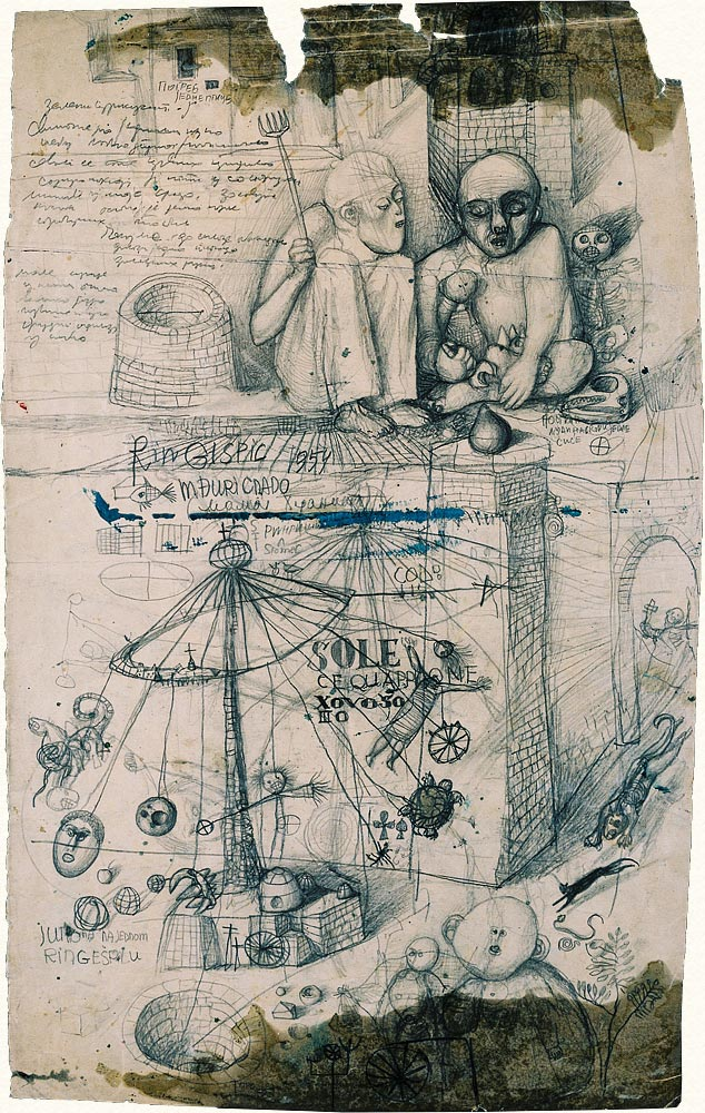 Dado's drawing: Study for Carousel, 1954