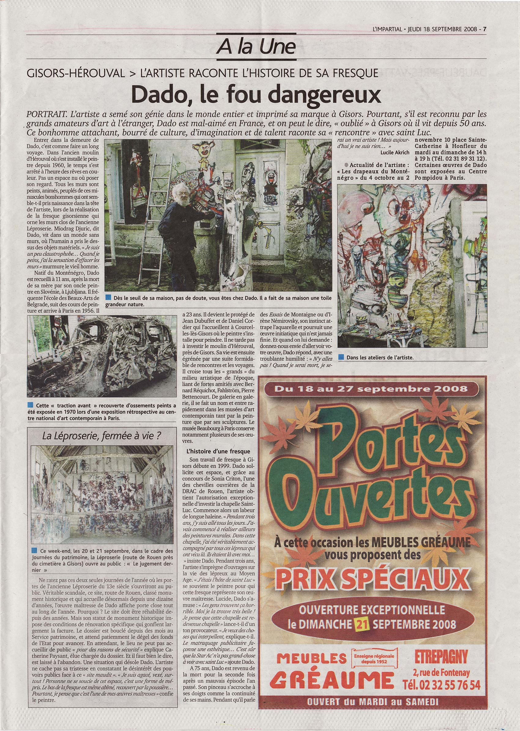 Članak iz žurnala l'Impartial od četvrtka 18. septembra 2008. godine o slikaru dadu.