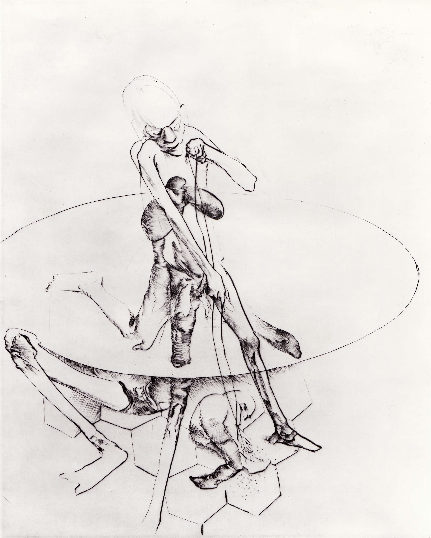 Print by Dado: Drunkard Beating a Child