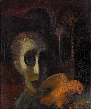 Marko Čelebonović and male owl, 1953