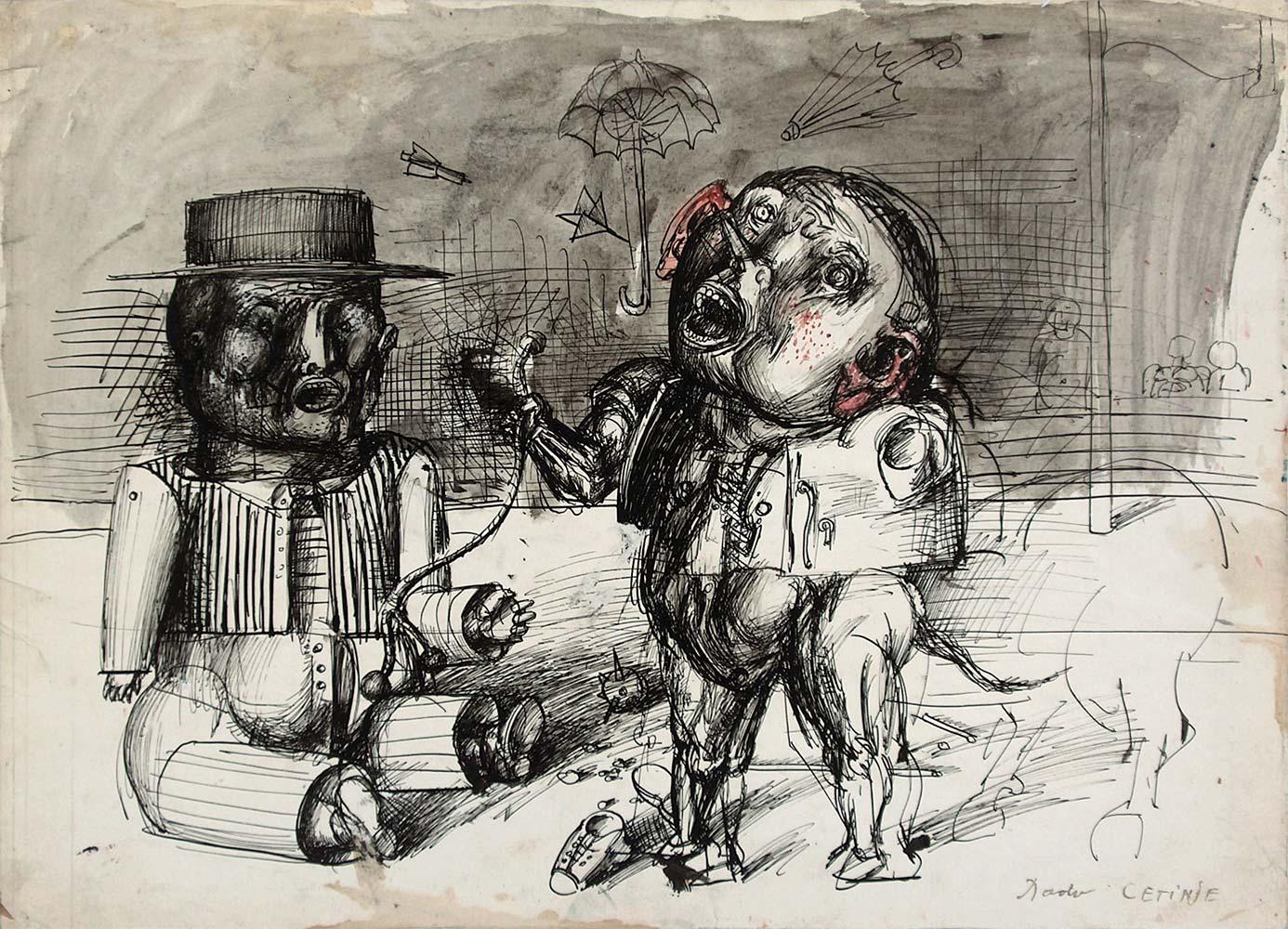 Dado's drawing: Man with umbrella