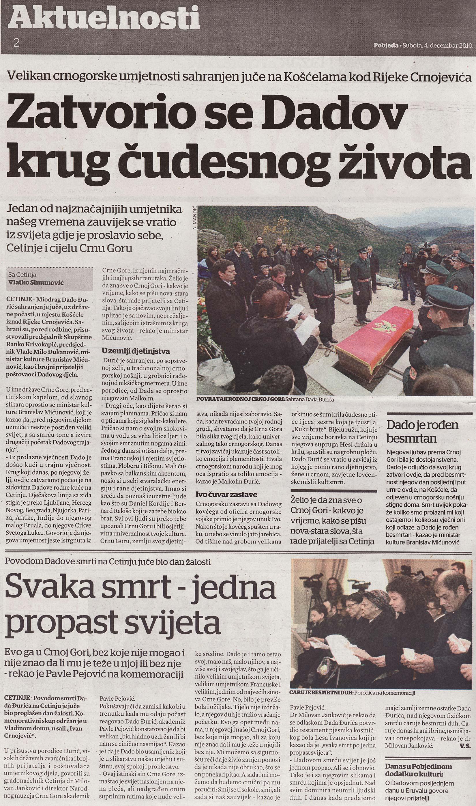 Dnevni list Pobjeda od 04. decembra 2010. godine.