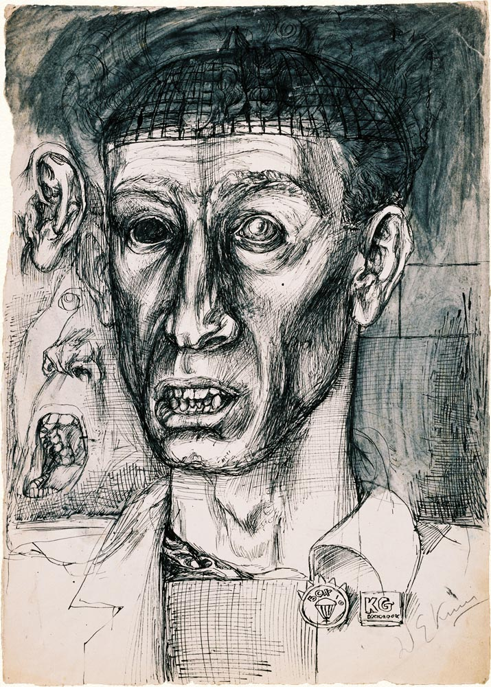 Dado's drawing: Portrait of Danilo Kiš, 1955