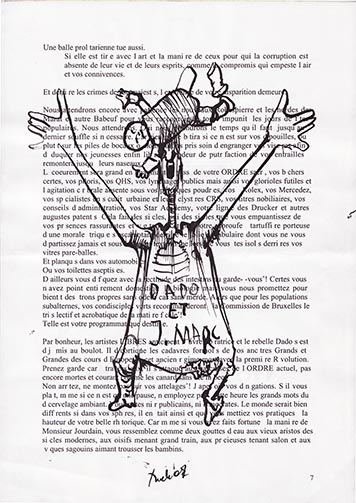 Drawings by Dado on Jann-Marc Rouillan's manuscript