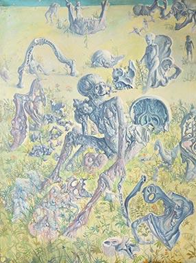 Skeleton sitting among flowers, 1966-1967
