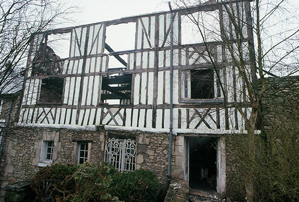 The Mill at Hérouval after the fire in 1988