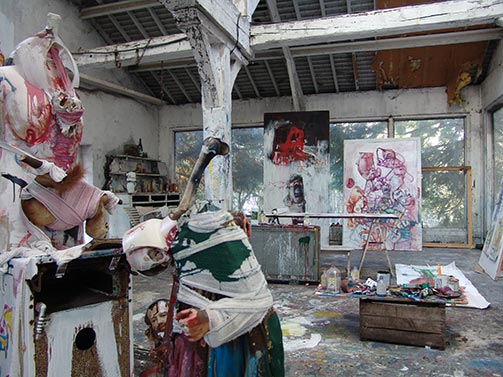 Sculptures at Dado's studio in 2009
