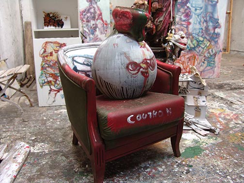 Sculpture at Dado's studio in September 2009