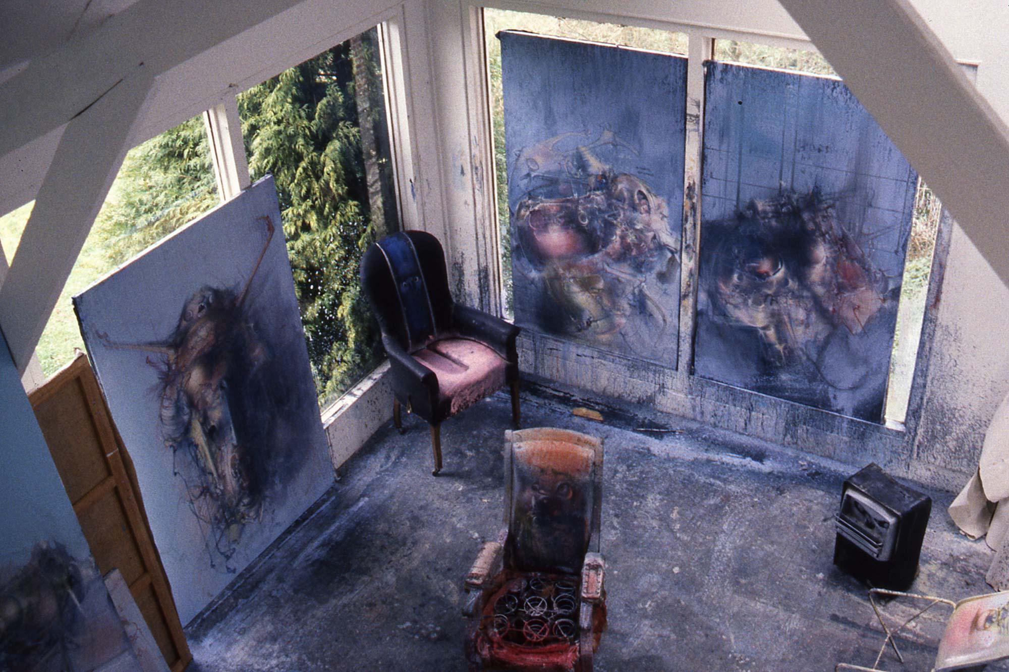 Dado's studio in Hérouval in 1986