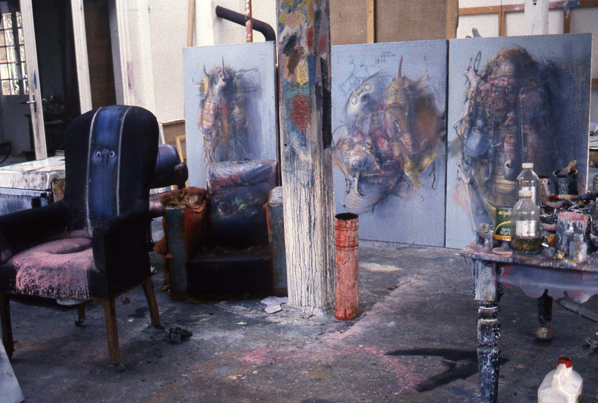 Dado's studio in Hérouval in 1986