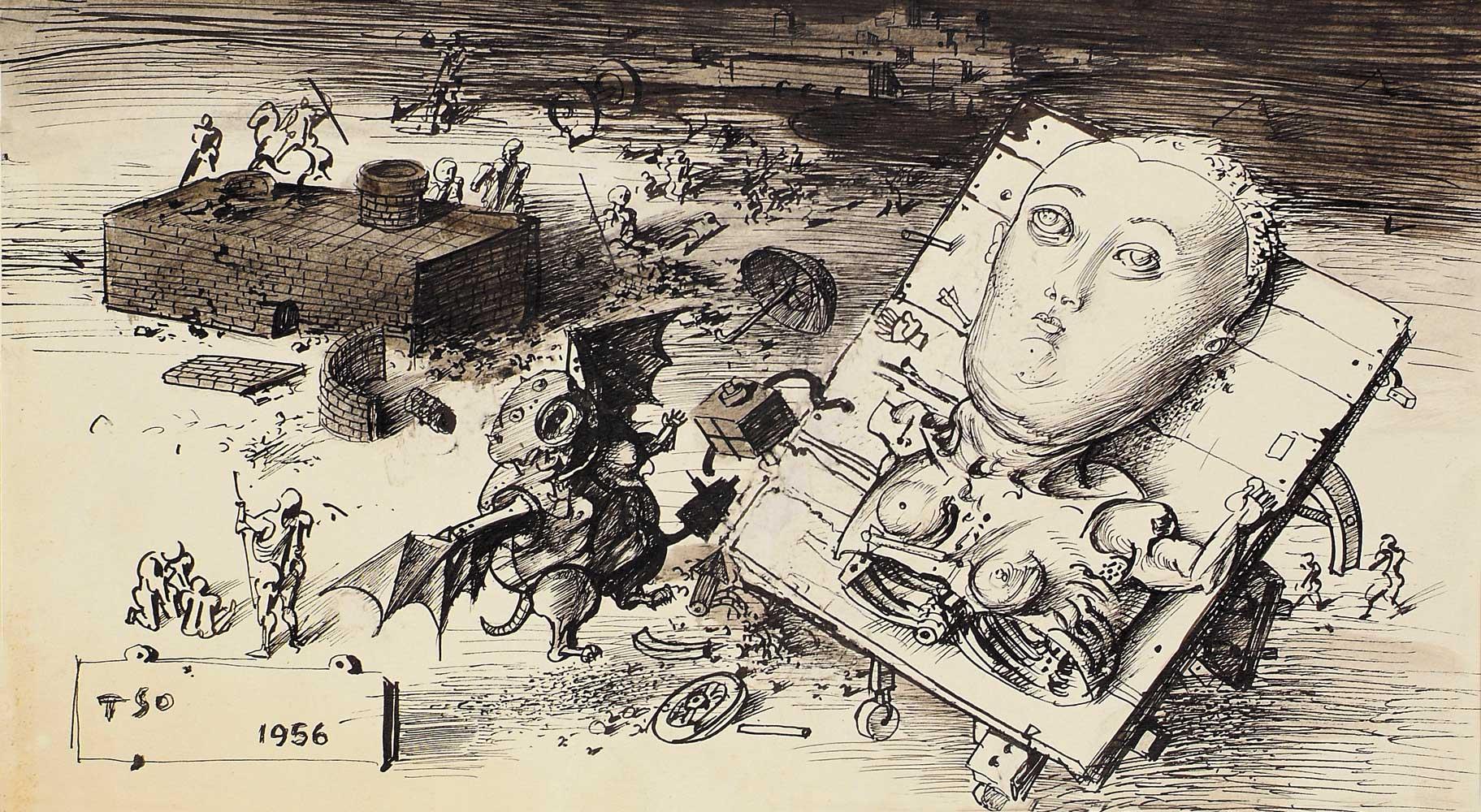 Dado's drawing: Battlefield, 1956