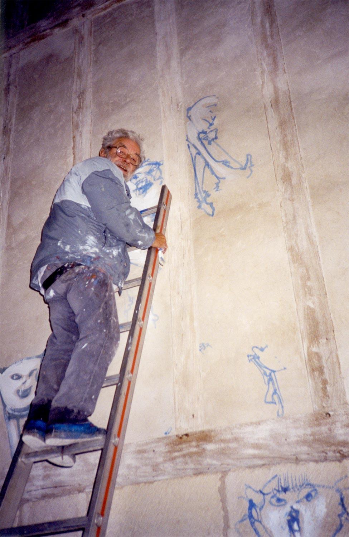 Beginning of Dado's murals at Chapel of St. Luke