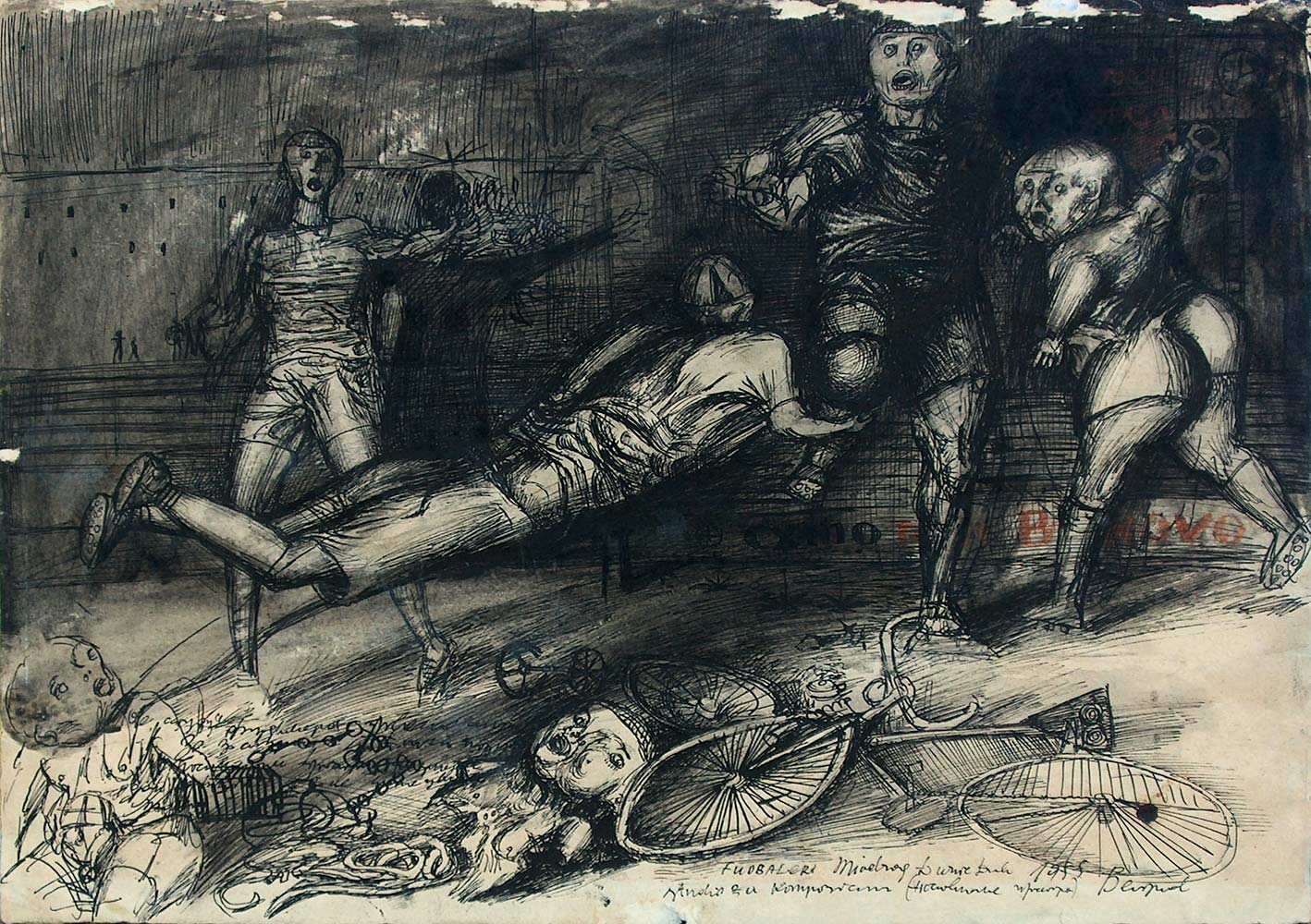 Dado's drawing: Soccer Players, 1955