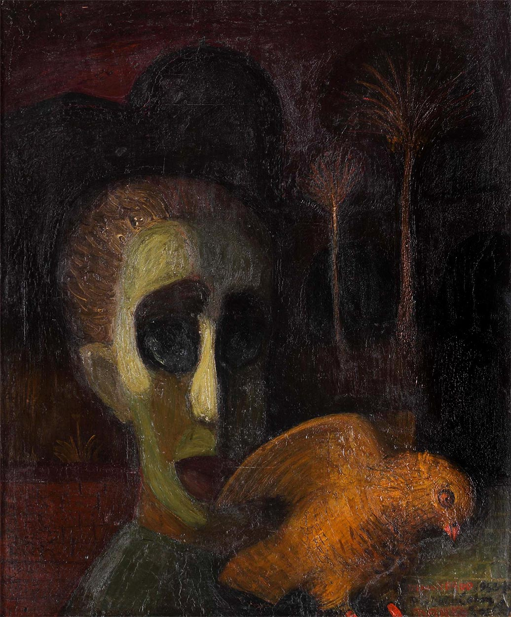 Dado: Marko Čelebonović and a male owl, 1953
