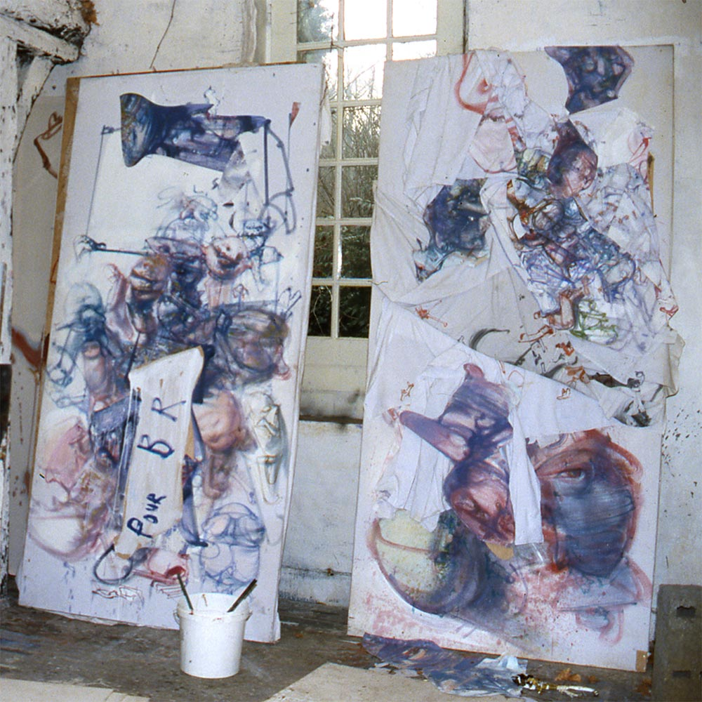 Two works from the series Letters to Réquichot at the Hérouval studio