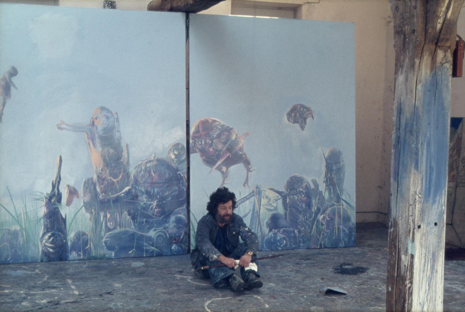Dado at his studio in Hérouval, circa 1974