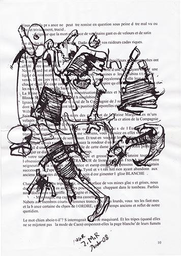 Drawings by Dado on Jann-Marc Rouillan's manuscript