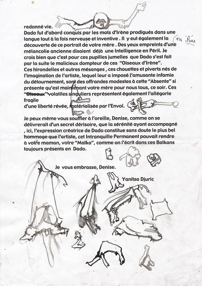 Dadovi crteži na Janicinom pismu za Deniz Epštajn