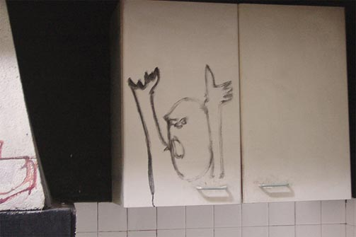 North wall in the kitchen at Hérouval
