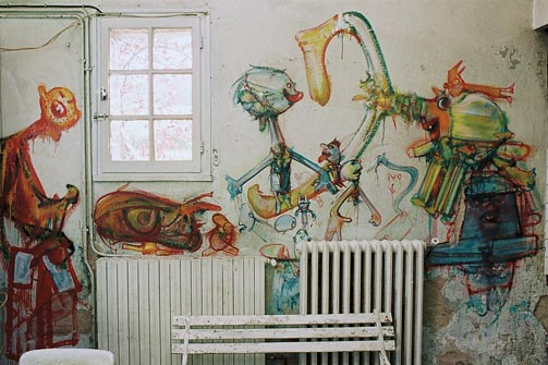 West wall in the kitchen at Hérouval