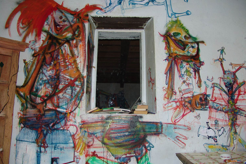 Cuisine mur sud peintures murales d h rouval l anti for Peintures murales