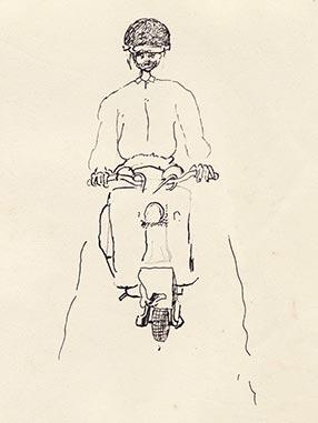 Réquichot sur son scooter