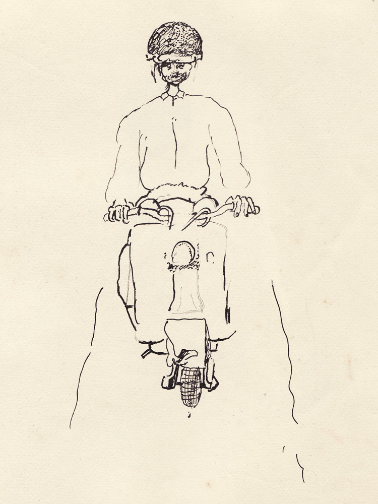 Réquichot riding his scooter, 1961