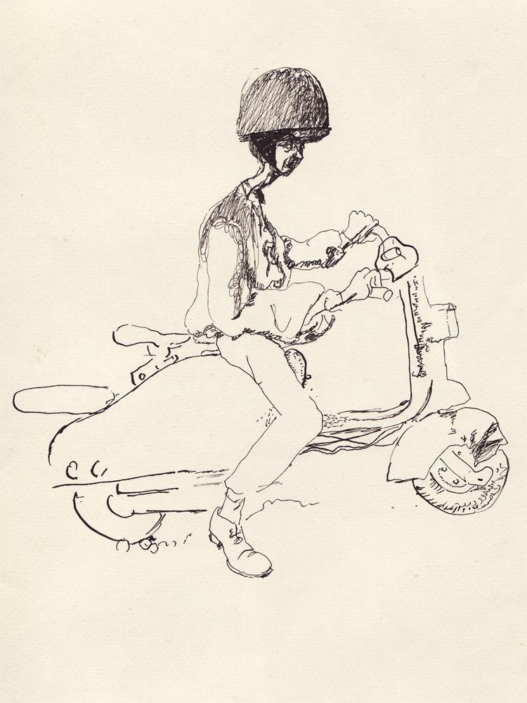 Réquichot riding his scooter, 1961